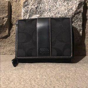 Coach Bifold Black Monogram Wallet